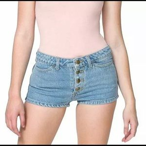 American Apparel Exposed Button Fly Jean Shorts